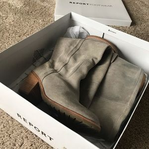 tall grey suede boots